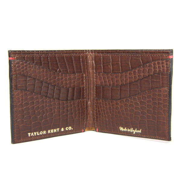 Taylor Kent English Leather Wallet in Chocolate Brown Open