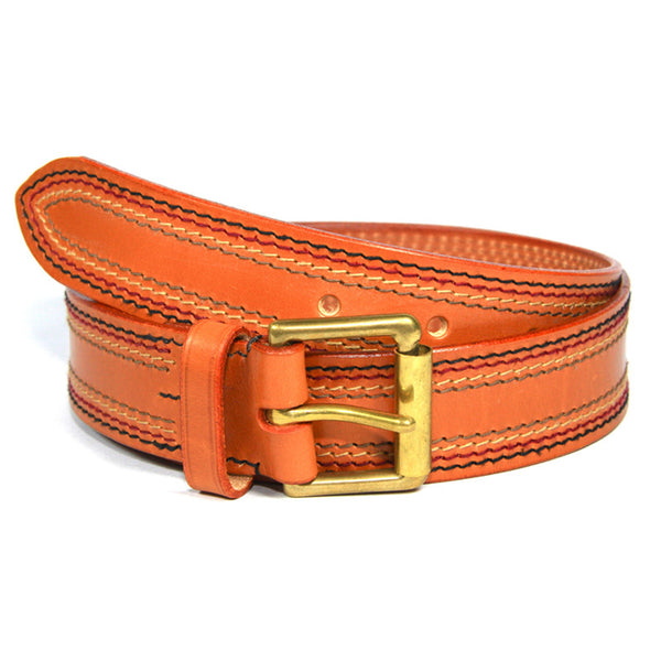 English Bridle Leather Stitched Belt