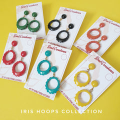 Iris fakelite carved hoop earrings collection
