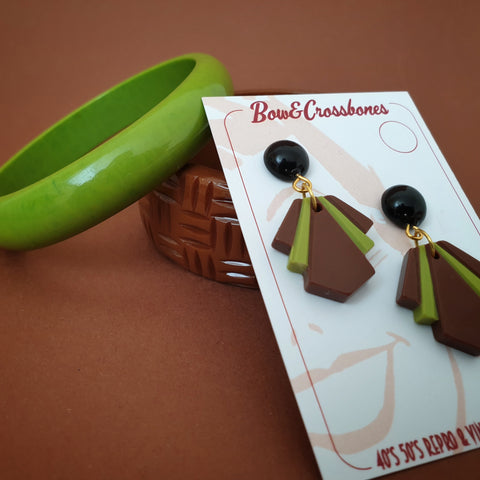 1920's styled deco fan earrings - borwn and lime - fall