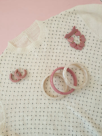 Dusty Pink fakelite Beau Dangle Brooch, Elsie Bangles & Earrings with a cream dotty sweater top