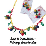 Vintage styled primary strawberry charm necklace by Bow & Crossbones