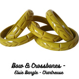 Bow And crossbones - Elsie bangle - Chartreuse