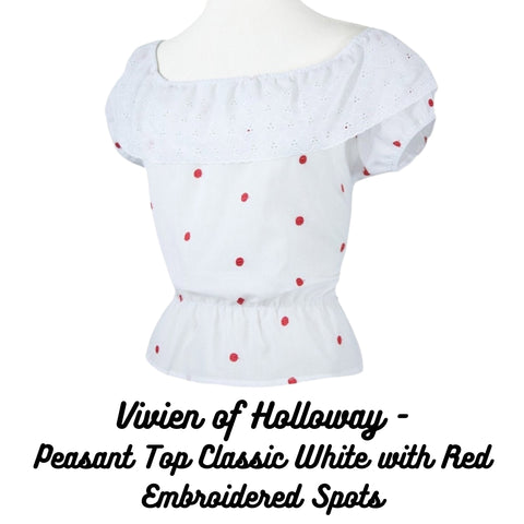 Vivien of Holloways' Peasant Top Classic White with Red Embroidered Spots