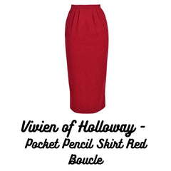 Pocket Pencil Skirt Red Boucle