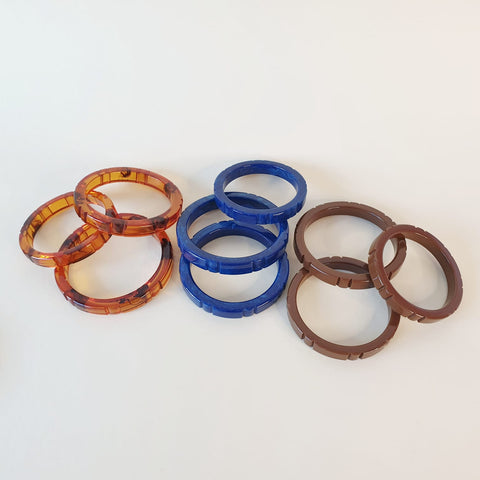 A selection of Hazel Bangles in new shades Tortie, Neptune & Pecan