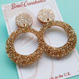 Vivien gold glitter hoop earrings, , Earrings, Bow & Crossbones, Bow & Crossbones   - 2