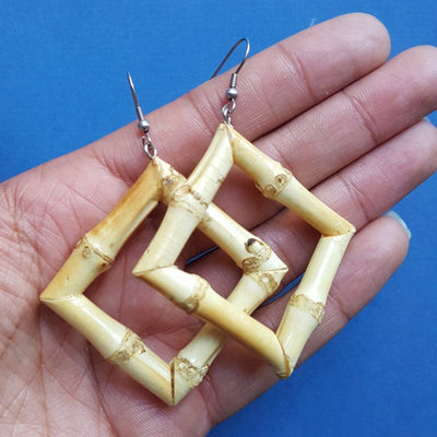 Square hoop bamboo earrings - small natural - Bow & Crossbones LTD