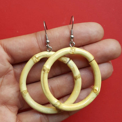 Tiki bamboo hoop earrings - Small round, , Earrings, Bow & Crossbones, Bow & Crossbones   - 1