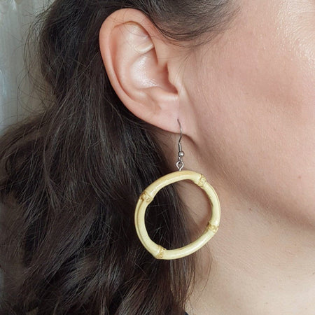 Tiki bamboo hoop earrings - Small round, , Earrings, Bow & Crossbones, Bow & Crossbones   - 4