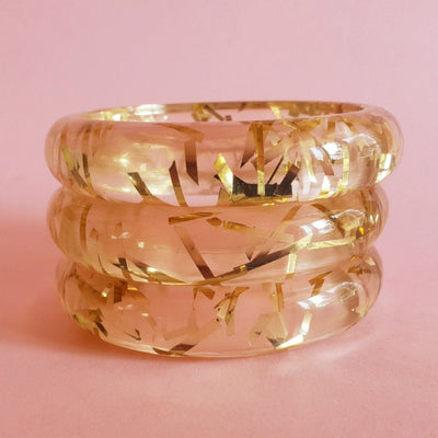 Grace Lucite confetti bracelet - Gold thread - Bow & Crossbones LTD