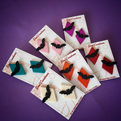 Bat Diamond Earrings - More colours! * Sale! * - Bow & Crossbones LTD