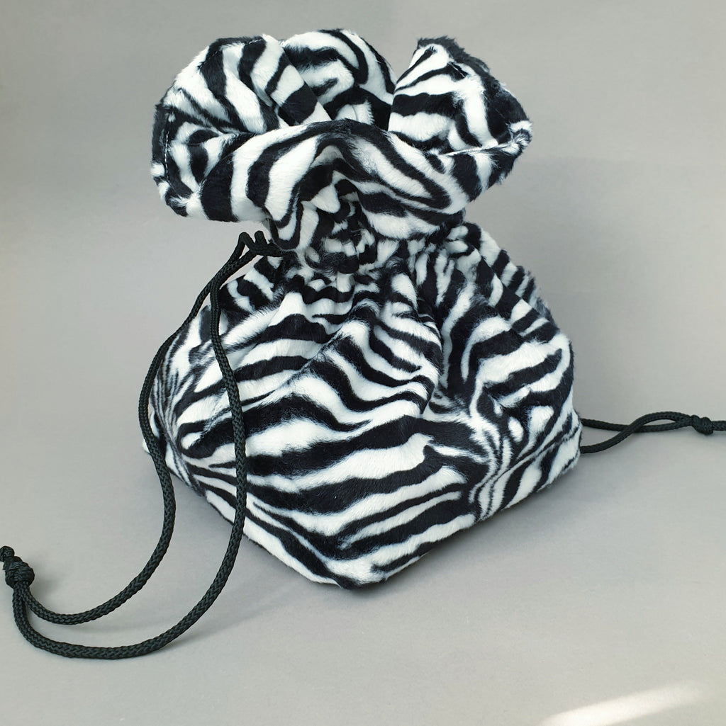 Lulu Square drawstring bag - Zebra Print - Bow & Crossbones LTD