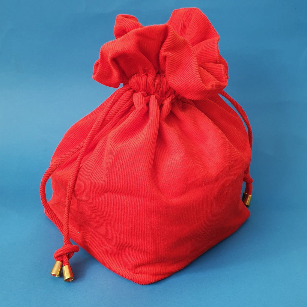 Lulu Square drawstring bag - Red cord - Bow & Crossbones LTD