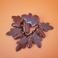 Willow Acorn Fakelite Charm Brooch - Coco - Bow & Crossbones LTD