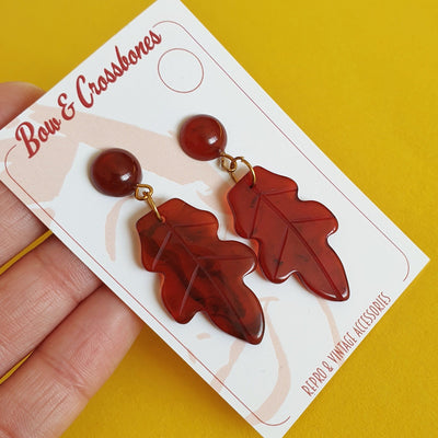 Willow Acorn Fakelite Charm Earrings - Tortie - Bow & Crossbones LTD