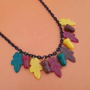 Willow Acorn Fakelite Charm Necklace - Multi - Bow & Crossbones LTD