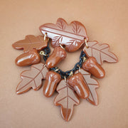 Willow Acorn Fakelite Charm Brooch - Coco