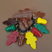 Willow Acorn Fakelite Charm Brooch - Multi - Bow & Crossbones LTD