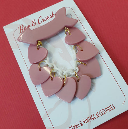 Beau Dangle Bakelite Reproduction Heart Brooch - Dusty Pink * Sale! * - Bow & Crossbones LTD
