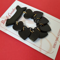 Beau Dangle Bakelite Reproduction Heart Brooch - Black * Sale! * - Bow & Crossbones LTD