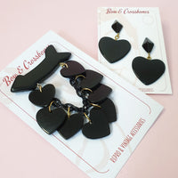 Beau Dangle Bakelite Reproduction Heart Brooch - Black - Bow & Crossbones LTD