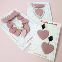 Beau Dangle Bakelite Reproduction Heart Brooch - Dusty Pink - Bow & Crossbones LTD