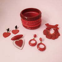 Belinda Bakelite Reproduction Love Heart Brooch - Cherry Red - Bow & Crossbones LTD