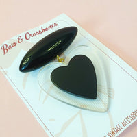 Belinda Bakelite Reproduction Love Heart Brooch - Black - Bow & Crossbones LTD