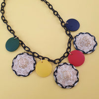 Nanette Wooden Disk Necklace - Sunhats * SALE! * - Bow & Crossbones LTD