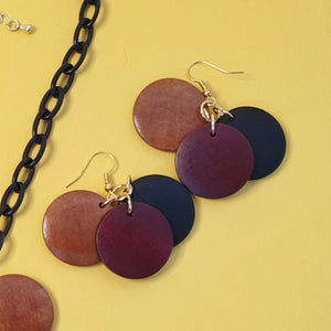 Nanette Wooden Disk Earrings - Browns - Bow & Crossbones LTD