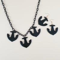Pippa Anchor Necklace - Black - Bow & Crossbones LTD