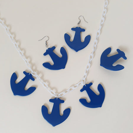 Pippa Anchor Brooch - Royal Blue - Bow & Crossbones LTD