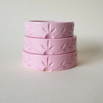 Ivy Vines Carved Bangle - Pale Pink - Bow & Crossbones LTD