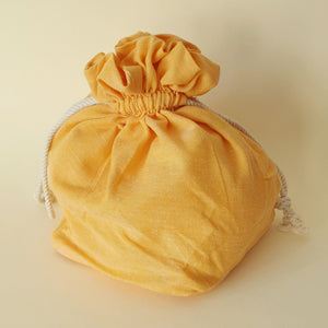 Lulu Square Drawstring Bag - Yellow Ochre - Bow & Crossbones LTD