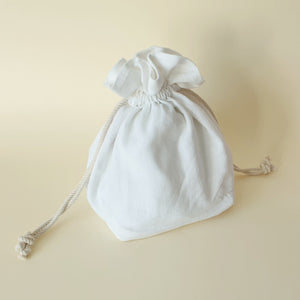 Lulu Square Drawstring Bag - White Cotton - Bow & Crossbones LTD