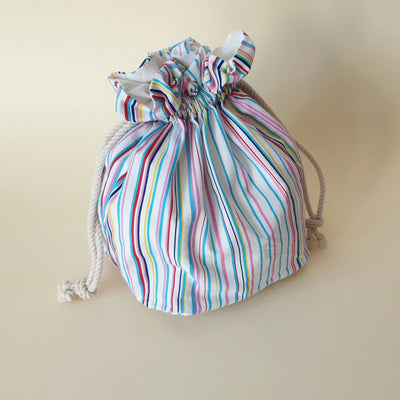 Lulu Square Drawstring Bag - Beach Stripes - Bow & Crossbones LTD