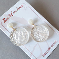 Corday Spider Web Stud Earrings *Limited Edition* - Clear - Bow & Crossbones LTD