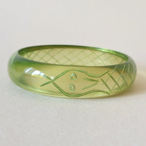 Sally Snake Charmer Queenie Bangle - Transparent Green *2nds Quality* - Bow & Crossbones LTD