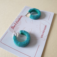 Kane Wicker 2 Tone Hoop Stud Earrings - Blue Lagoon * SALE! * - Bow & Crossbones LTD