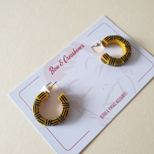 Kane Wicker 2 Tone Hoop Stud Earrings - Angelfish - Bow & Crossbones LTD