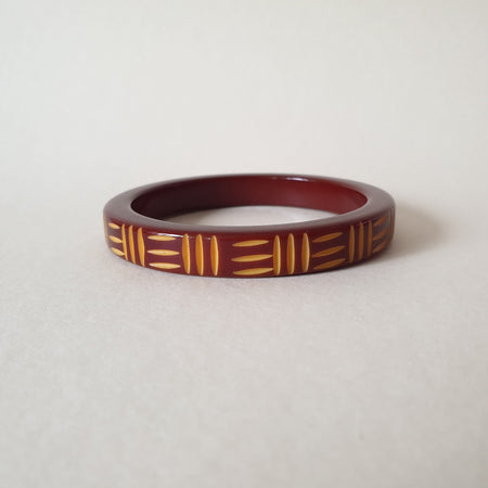 Kane Wicker Carved 2 tone Bangle - Thin - Oh Honey! - Bow & Crossbones LTD