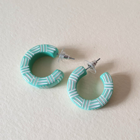 Kane Wicker 2 Tone Hoop Stud Earrings - Peppermint Kane - Bow & Crossbones LTD