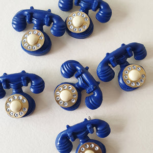 Novelty Telephone Brooch - Royal Blue * 2nds Quality * * SALE! * - Bow & Crossbones LTD