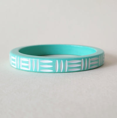 Kane Wicker Carved 2 tone Bangle - Thin - Peppermint Kane - Bow & Crossbones LTD