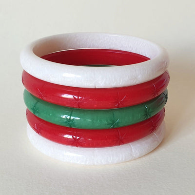 Santa Claus Pre-made Bangle Stack  - Queenie - Bow & Crossbones LTD