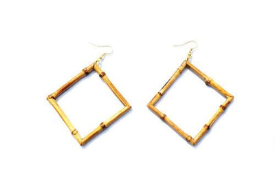 Bamboo Earrings - Square - Bow & Crossbones LTD