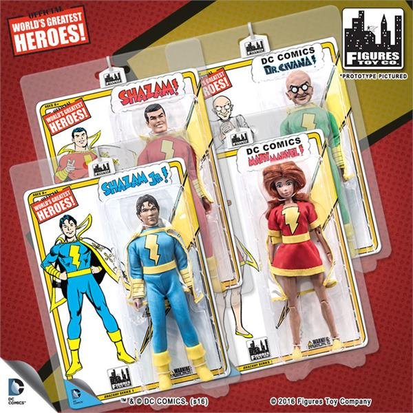 Shazam Retro 8 Inch Action Figures Series 1: Set of all 4