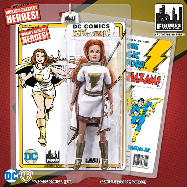 Shazam Retro 8 Inch Action Figures Series: Mary Marvel White & Gold Variant