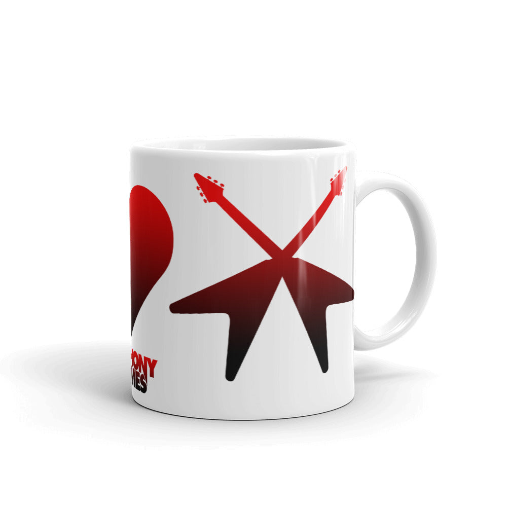 Peace, Love & Loud Guitars Red Icon Mug